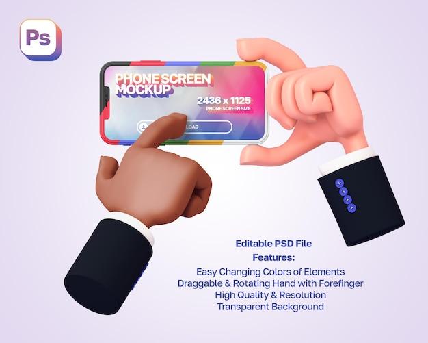 A mão de um desenho animado em 3d segura e mostra o telefone na orientação paisagem, enquanto a outra mão pressiona nele