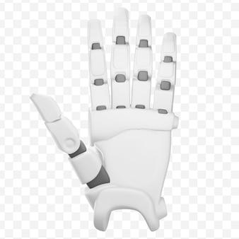 A mão do robô 3d mostra cinco dedos, gesto de olá, mão com os dedos abertos, ilustração 3d isolada