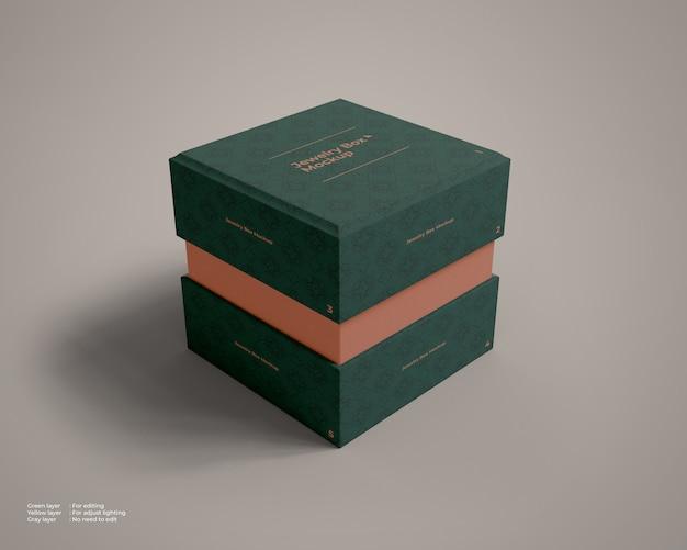 A maquete da caixa de jóias ligeiramente aberta