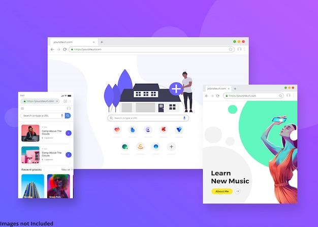 A maquete da página da web do navegador