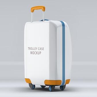 A maquete vertical de bagagem de roda universal do lado reverso isolada