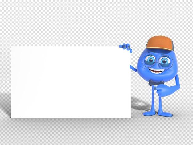 A mascote do caráter 3d rende apontar a placa vazia para a propaganda