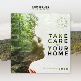A natureza selvagem cuida da sua casa panfleto quadrado