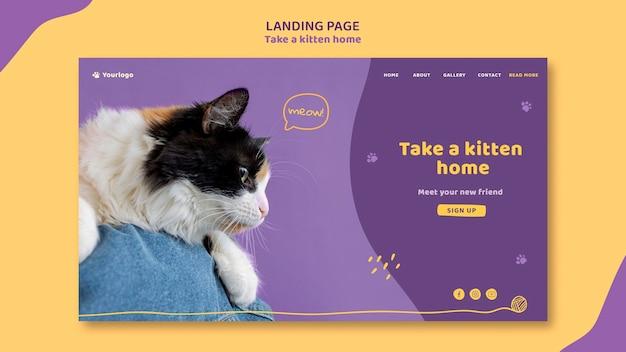 A página de destino adota um modelo de gatinho