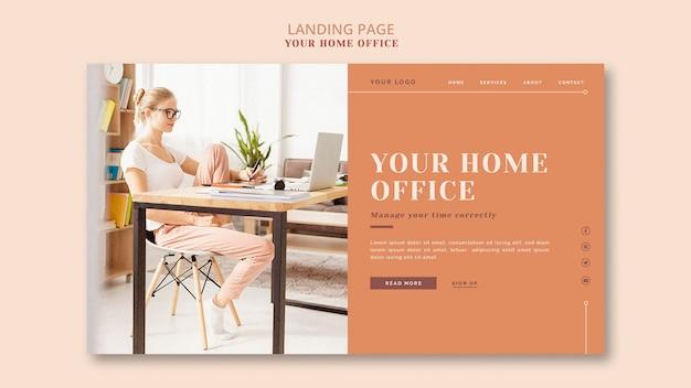 A página de destino do seu escritório em casa