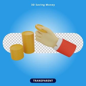 A renderização 3d coloca moedas em uma pilha para economizar ilustração