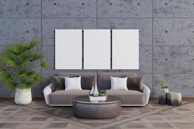 A sala com cores neutras e quadros de maquete