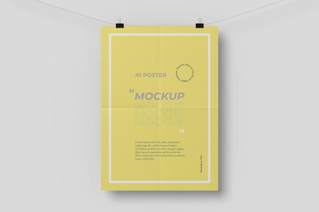 A1 poster maquete com efeito dobrável