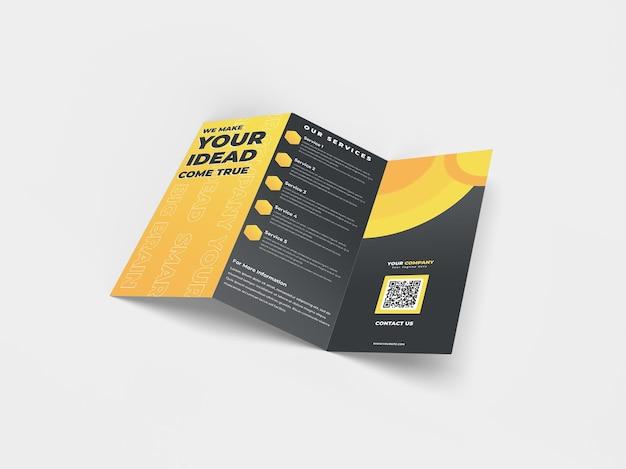 A4 maquete de folheto realista com três dobras para o perfil da empresa de publicidade e identidade da marca