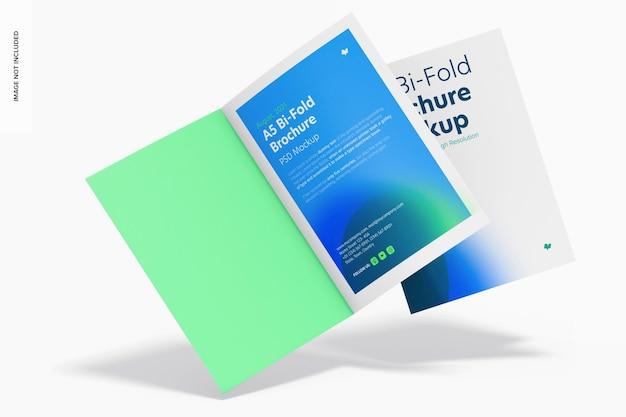 A5 bi-fold brochures mockup, falling