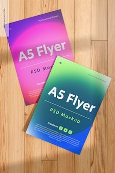 A5 flyers mockup, perspectiva