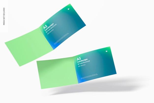 A5 landscape bi-fold brochures mockup, floating