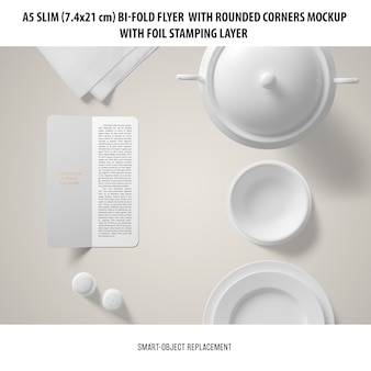 A5 slim bi-fold flyer mockup