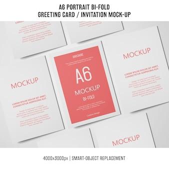 A6 bi-fold cartão de convite maquete