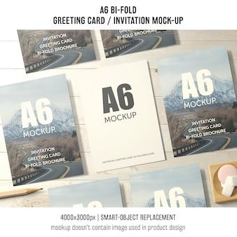A6 bi-fold cartão maquete de sete