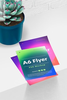 A6 flyers mockup, perspectiva