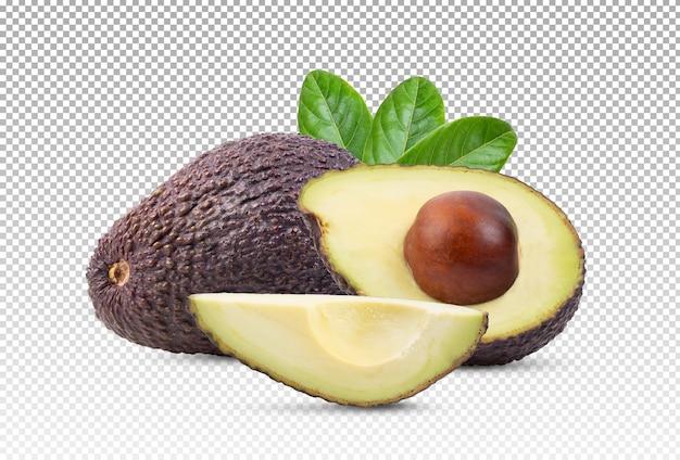 Abacate e fatias de abacate isoladas