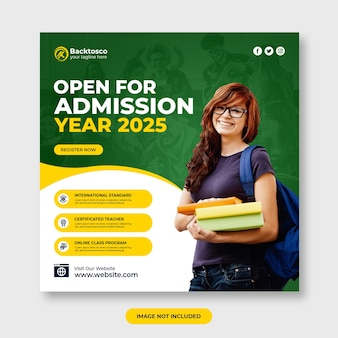 Aberto para admissão em mídia social post template premium psd