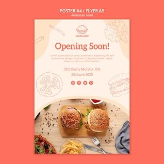 Abertura de restaurante de design de folheto