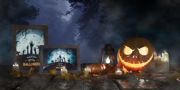 Abóbora assustadora ao lado de cartazes de filmes de terror emoldurados