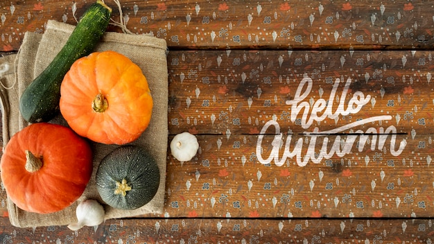 Abóboras decorativas para halloween plana lay