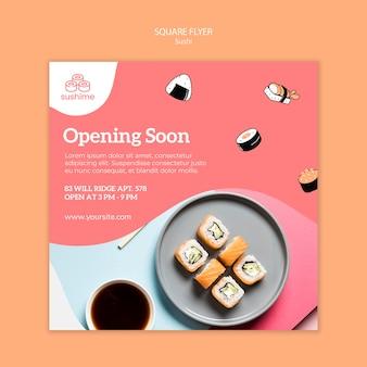 Abrindo em breve panfleto quadrado de restaurante de sushi