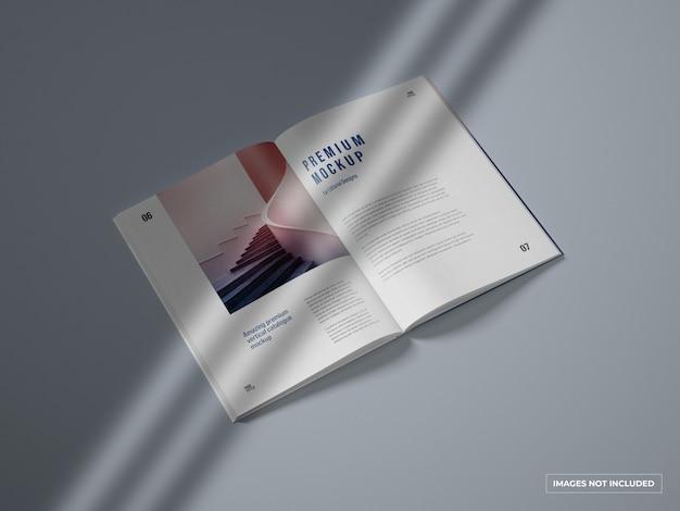 Abrir catálogo vertical e maquete de revista