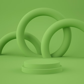 Abstrato verde cênico com pódio de forma geométrica para o produto. conceito mínimo. renderização em 3d