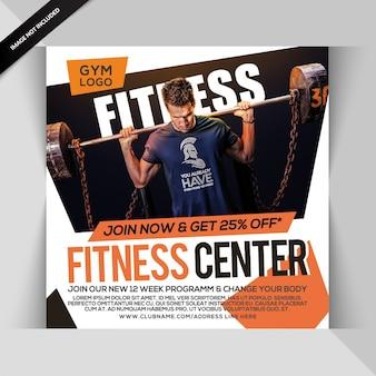 Academia de fitness instagram post ou modelo de folheto quadrado