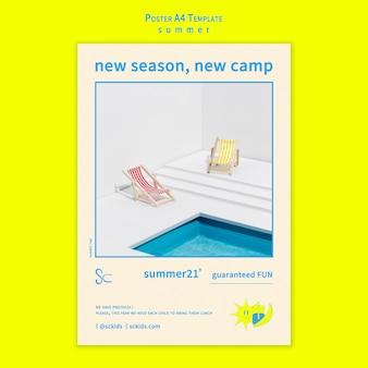 Acampamento de verão com modelo de pôster de piscina