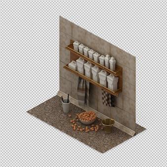 Acessórios de cozinha isométrica 3d render