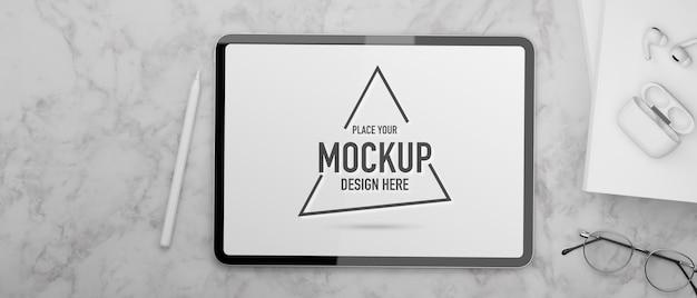 Acessórios de tela de maquete de tablet digital e óculos na mesa de mármore renderização 3d