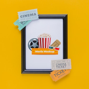 Acima vista conceito de cinema com bilhetes