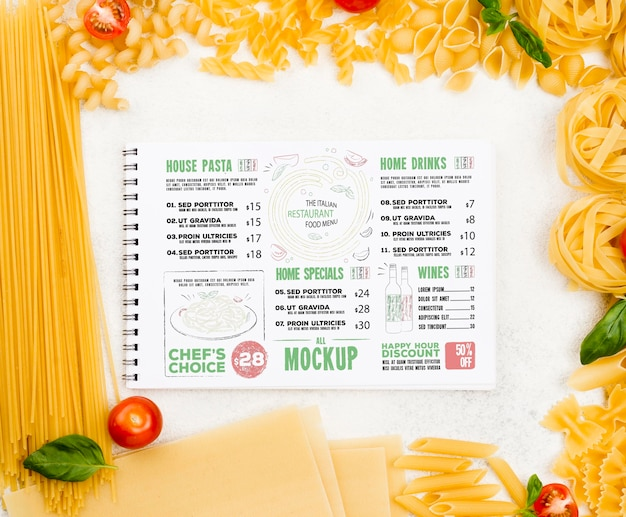 Acima vista menu italiano e massas