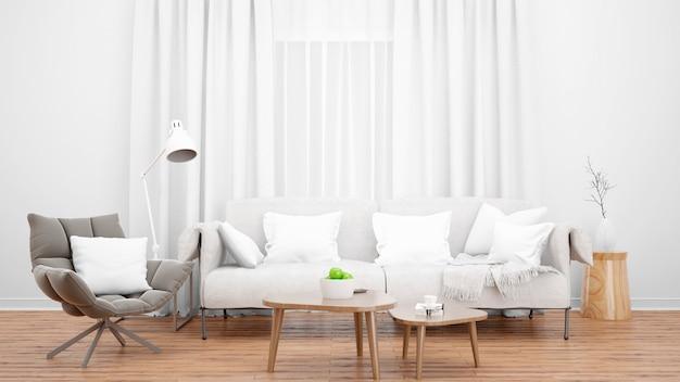 Aconchegante sala de estar com elegante sofá e poltrona e janela grande