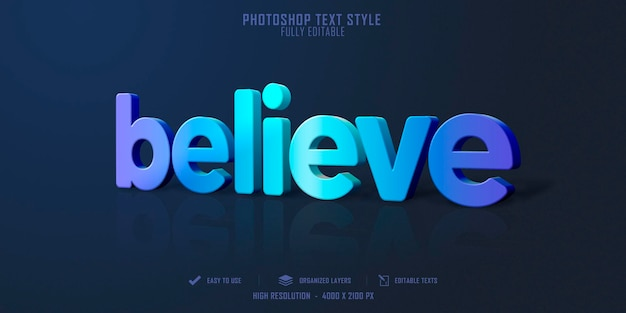 Acredite no design de modelo de efeito de estilo de texto 3d