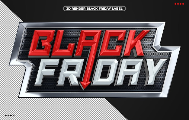 Adesivo 3d render preto sexta-feira vermelho agressivo