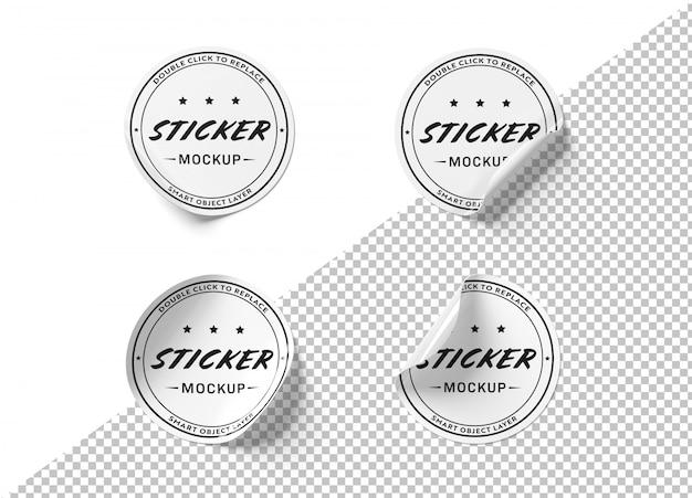 Adesivo circular recortado maquete
