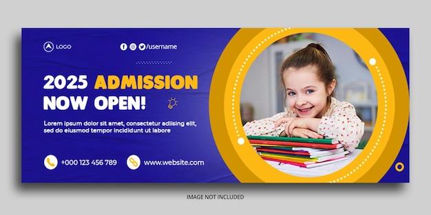 Admissão à educação escolar de crianças modelo de banner da web de capa do facebook
