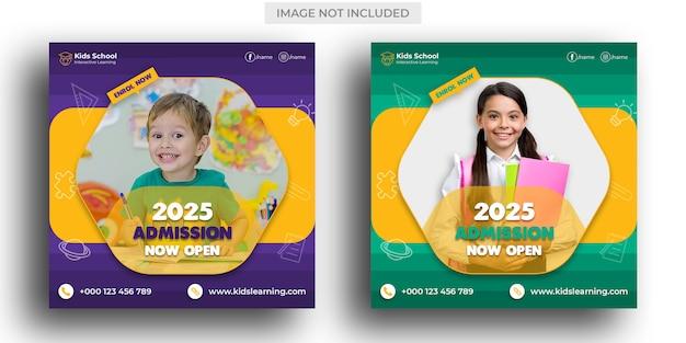 Admissão à educação escolar para crianças post em mídias sociais e post no instagram template