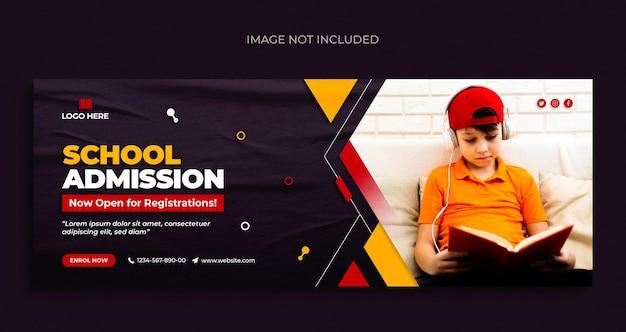 Admissão de crianças na escola nas mídias sociais postar panfleto de banner na web e modelo de design de foto de capa do facebook