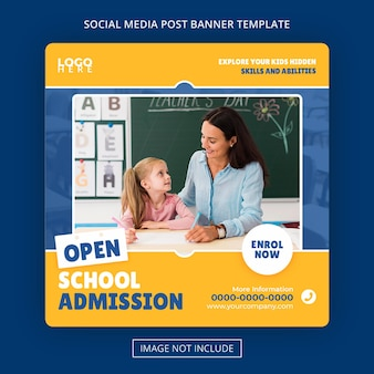 Admissão escolar academia square banner educacional mídia social pós premium psd