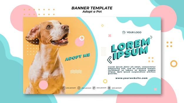 Adote o conceito de modelo de banner para animais de estimação