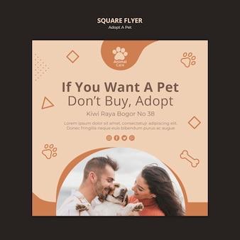 Adote o tema do modelo de panfleto para animais de estimação
