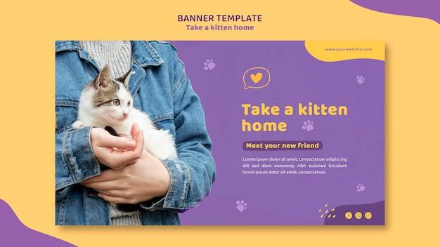 Adote um banner de modelo de gatinho