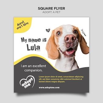 Adote um cão panfleto quadrado