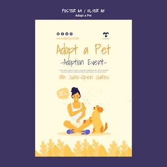 Adote um design de cartaz para animais de estimação