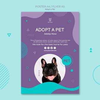 Adote um design de cartaz quadrado de conceito de animal de estimação