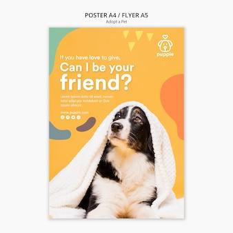 Adote um design de folheto para animais de estimação
