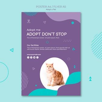 Adote um design de folheto quadrado conceito animal de estimação